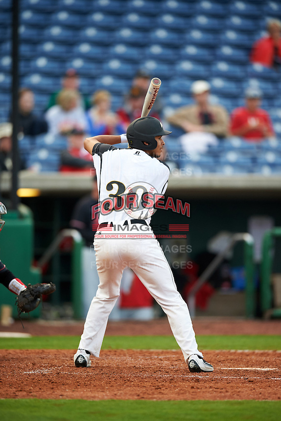 Alabama State Hornets pinch hitter Ricky Perez (30) at bat during a game against the Ball State Cardinals on February 18, 2017 at Spectrum Field in Clearwater, Florida.  Ball State defeated Alabama State 3-2.  (Mike Janes/Four Seam Images)