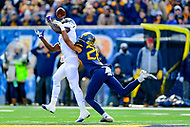 Morgantown, WV - NOV 10, 2018: West Virginia Mountaineers cornerback Keith Washington (28) knocks down a pass intended for TCU Horned Frogs wide receiver Jalen Reagor (1) during game between West Virginia and TCU at Mountaineer Field at Milan Puskar Stadium Morgantown, West Virginia. (Photo by Phil Peters/Media Images International)