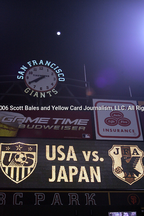 10 February 2006: The home of the San Francisco Giants baseball team is reconfigured to host its first ever soccer game. The United States Men's National Team defeated Japan 3-2 at SBC Park in San Francisco, California in an International Friendly soccer match.