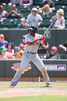 Jose Vinicio (3) of the Salem Red Sox at bat against the Winston-Salem Dash at BB&T Ballpark on May 31, 2015 in Winston-Salem, North Carolina.  The Red Sox defeated the Dash 6-5.  (Brian Westerholt/Four Seam Images)