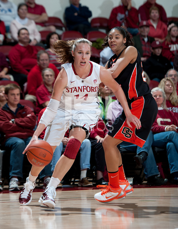 STANFORD, CA - February 24, 2011: Kayla Pedersen of the Stanford Cardinal women's basketball team during the Stanford vs Oregon State game at Maples Pavilion.