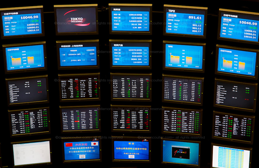 A board listing share prices at the Tokyo Stock Exchange in Nihonbashi, Tokyo, Japan. Wednesday October 14th 2009. Established on May 15th 1878 the Tokyo Stock Exchange was one of the first stock exchanges in the world to fully computerize trading and now deals with over 700 trillion Yens worth of stock transaction annually, representing over 90 percent of all share dealings in the country.