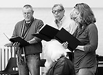 """King Lear"" rehearsed reading rehearsals. Old Vic Theatre. Director: Jonathan Miller. L to R: John Nettles, Michael York, Felicity Dean, Greta Scacchi."
