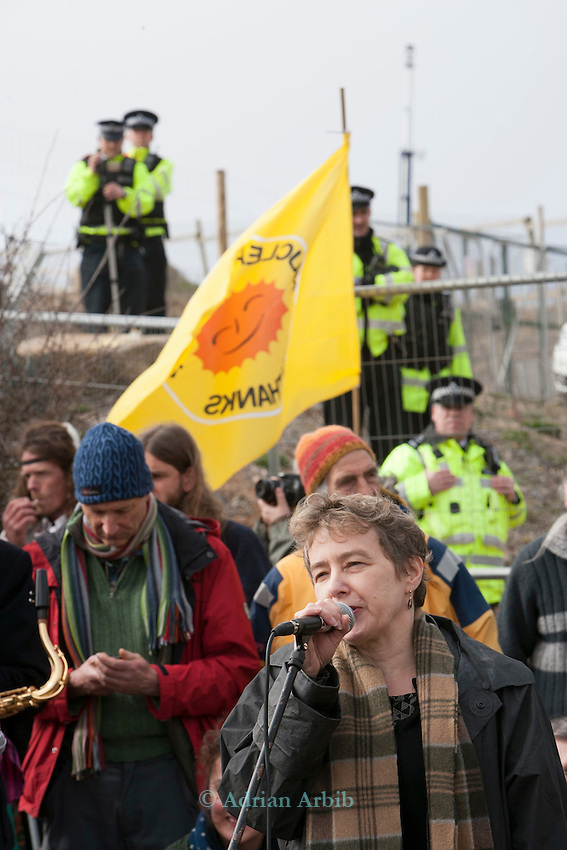 Kate Hudson of CND  talks to Protesters at a march against the building of  Hinkley C power station, Somerset  and the UK government's choice of Nuclear power as the mainstay of England's power supply.