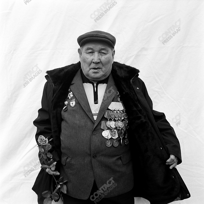WWII veteran during Victory Day celebrations, Gavriil Maksimovich Bogomolov, b. 1918, Scout. Moscow, Russia, May 9, 2008