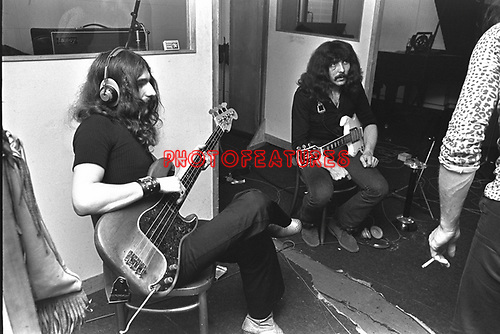 Black Sabbath 1970 Geezer Butler and Tony Iommi at Regents Sounds during Paranoid sessions<br /> &copy; Chris Walter