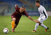 Calcio, Europa League: Roma vs Astra Giurgiu. Roma, stadio Olimpico, 29 settembre 2016.<br /> Roma&rsquo;s Radja Nainggolan, left, is challenged by Astra Giurgiu&rsquo;s Constantin Budescu during the Europa League Group E soccer match between Roma and Astra Giurgiu at Rome's Olympic stadium, 29 September 2016. Roma won 4-0.<br /> UPDATE IMAGES PRESS/Isabella Bonotto