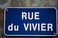 """Europe/France/Bretagne/29/Finistère/Lechiagat: Détail plaque de rue """"Rue du Vivier"""""""