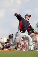 Minnesota Twins pitcher Kyle Waldrop #57 delivers a pitch during a spring training game against the Pittsburgh Pirates at McKechnie Field on March 10, 2012 in Bradenton, Florida.  Minnesota defeated Pittsburgh 4-2.  (Mike Janes/Four Seam Images)
