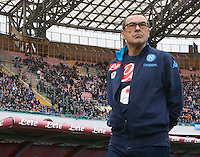 Napoli's coach  Maurizio Sarri during the  italian serie a soccer match,between SSC Napoli and Empoli      at  the San  Paolo   stadium in Naples  Italy , January 31, 2016
