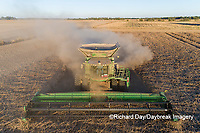 63801-13403 Harvesting soybeans in fall-aerial  Marion Co. IL