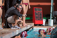 John Vargas, coach of Stanford Men's Water Polo in a match against Pepperdine at the Avery Aquatic Center at Stanford.
