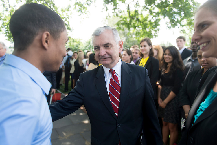 UNITED STATES - JUNE 6: Sen. Jack Reed, D-R.I., shakes hands as he arrives for a rally with college students from across the country to urge against an interest rate increase in the federally subsidized Stafford loans on Wednesday, June 6, 2012. (Photo By Bill Clark/CQ Roll Call)