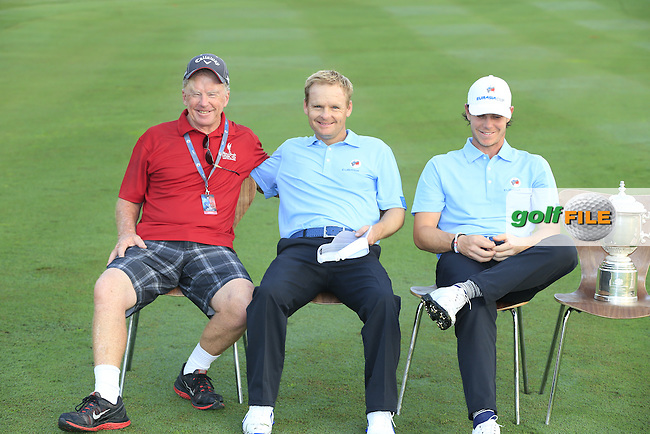 Bernie McGuire relaxes with Soren Kjeldsen (DEN) and Kristoffer Broberg (SWE) European Team before Pro-Am Day of the 2016 Eurasia Cup held at the Glenmarie Golf &amp; Country Club, Kuala Lumpur, Malaysia. 14th January 2016.<br /> Picture: Eoin Clarke | Golffile<br /> <br /> <br /> <br /> All photos usage must carry mandatory copyright credit (&copy; Golffile | Eoin Clarke)
