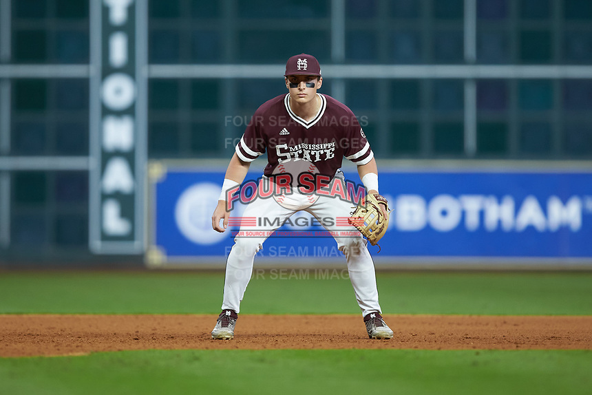 Mississippi State Bulldogs third baseman Justin Foscue (17) on defense against the Louisiana Ragin' Cajuns in game three of the 2018 Shriners Hospitals for Children College Classic at Minute Maid Park on March 2, 2018 in Houston, Texas.  The Bulldogs defeated the Ragin' Cajuns 3-1.   (Brian Westerholt/Four Seam Images)