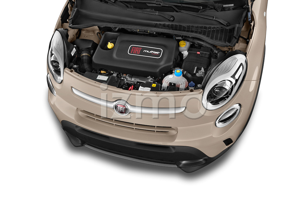 Car Stock 2014 Fiat 500L Trekking 5 Door Hatchback Engine high angle detail view