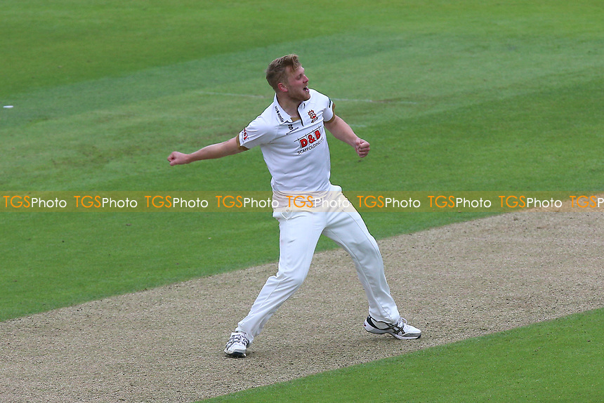 Jamie Porter of Essex celebrates taking the wicket of Jimmy Adams during Hampshire CCC vs Essex CCC, Specsavers County Championship Division 1 Cricket at the Ageas Bowl on 29th April 2018