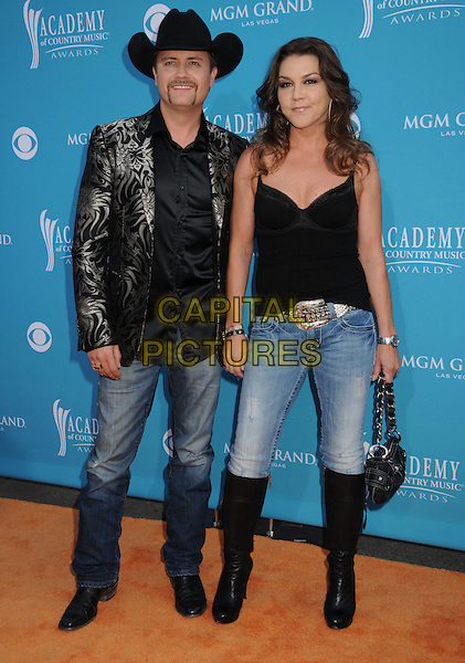 JOHN RICH & GRETCHEN WILSON.45th Annual Academy Of Country Music Awards held at the MGM Grand Garden Arena, Las Vegas, NV, USA..April 18th, 2010.full length black stetson cowboy hat jeans denim top jacket boots silver pattern .CAP/ADM/BP.©Byron Purvis/AdMedia/Capital Pictures.