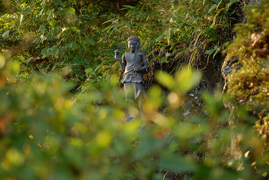 Buddhist statues in the grass at Yakuouin temple, Mount Takao.