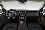 Stock photo of straight dashboard view of 2020 Land Rover Range-Rover HSE 5 Door SUV Dashboard