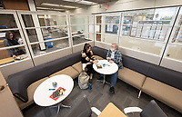 Zoe Foster-La Du '19 and Prof. Thomas Burkdall.<br /> Photos taken of the Writing Center on Feb. 15, 2019 on the Ground Floor of the Academic Commons. The Writing Center offers students from all disciplines two types of support to work on their writing: peer-to-peer, drop-in consultations with knowledgeable Writing Advisers and appointments with Faculty Writing Specialists from the Writing and Rhetoric department.<br /> (Photo by Marc Campos, Occidental College Photographer)