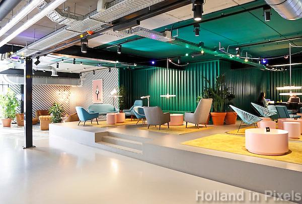 Nederland  Amsterdam  2016 . Interieur van The Student Hotel aan de Wibautstraat. Foto Berlinda van Dam / Hollandse Hoogte