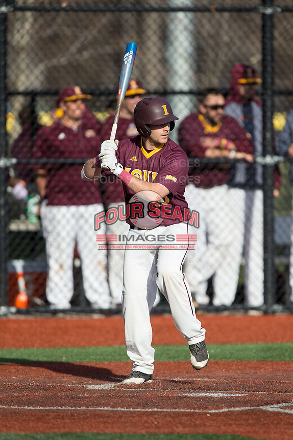 Alex Beckett (18) of the Iona Gaels at bat against the Rutgers Scarlet Knights at City Park on March 8, 2017 in New Rochelle, New York.  The Scarlet Knights defeated the Gaels 12-3.  (Brian Westerholt/Four Seam Images)