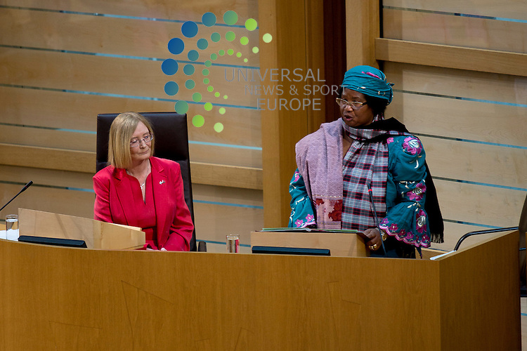 Malawi president, Joyce Banda, makes an official state visit to the Scottish Parliament, coinciding with David Livingstone's birthday anniversary...Pictured: Tricia Marwick (left), Joyce Banda (right)...Malcolm McCurrach (Universal News and Sport) - 19/03/2013