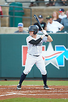 Cody Brown (2) of the Pulaski Yankees at bat against the Greeneville Reds at Calfee Park on June 23, 2018 in Pulaski, Virginia. The Reds defeated the Yankees 6-5.  (Brian Westerholt/Four Seam Images)