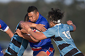 Joseph Ikenasio tries to break through the Weymouth defenders. Counties Manukau Premier Club Rugby game between Ardmore Marist and Weymouth, played at Bruce Pulman Park on May 14th 2016. Ardmore Marist won the game 43 - 7 after leading 17 - 0 at halftime. Photo by Richard Spranger.