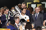 Valencia CF's captain Daniel Parejo celebrates the victory in the Spanish King's Cup Final match. May 25,2019. (ALTERPHOTOS/Carrusan)