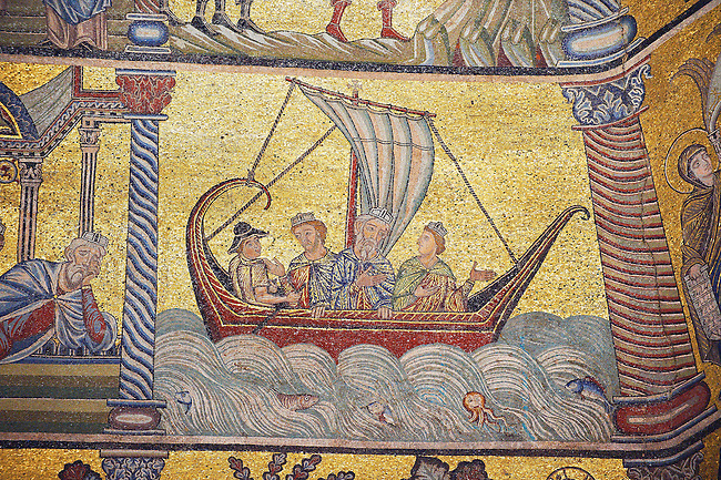 The Medieval mosaics of the ceiling of The Baptistry of Florence Duomo ( Battistero di San Giovanni ) showing the three wise men on their way to visit the baby Jesus,  started in 1225 by Venetian craftsmen in a Byzantine style and completed in the 14th century. Florence Italy