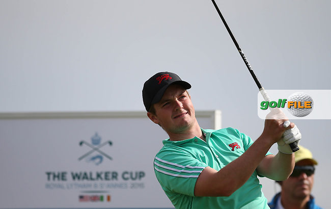 Jack Hume (IRL) in action during Sunday afternoon Singles matches of The Walker Cup 2015 played at Royal Lytham and St Anne's, Lytham St Anne's, Lancashire, England. 13/09/2015. Picture: Golffile | David Lloyd<br /> <br /> All photos usage must carry mandatory copyright credit (&copy; Golffile | David Lloyd)