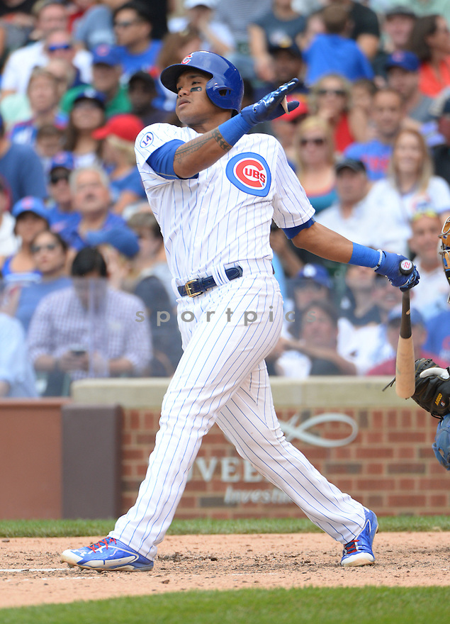 Chicago Cubs Addison Russell (22) during a game against the Los Angeles Dodgers on June 25, 2015 at Wrigley Field in Chicago, IL. The Dodgers beat the Cubs 4-0.