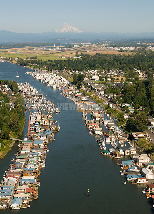Aerial of Hayden Island, Oregon