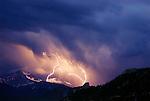 Lightning over Longs Peak in Estes Park, Colorado, Rockies National Park.