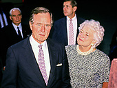 United States President George H.W. Bush holds an impromptu press conference with President Mikhail Gorbachev of the Union of Soviet Socialist Republics after their day of talks at Camp David, the presidential retreat near Thurmont, Maryland on Saturday, June 2, 1990.  It was the conclusion of three days of talks between the two leaders.  First lady Barbara Bush looks on from the right.<br /> Credit: Ron Sachs / CNP
