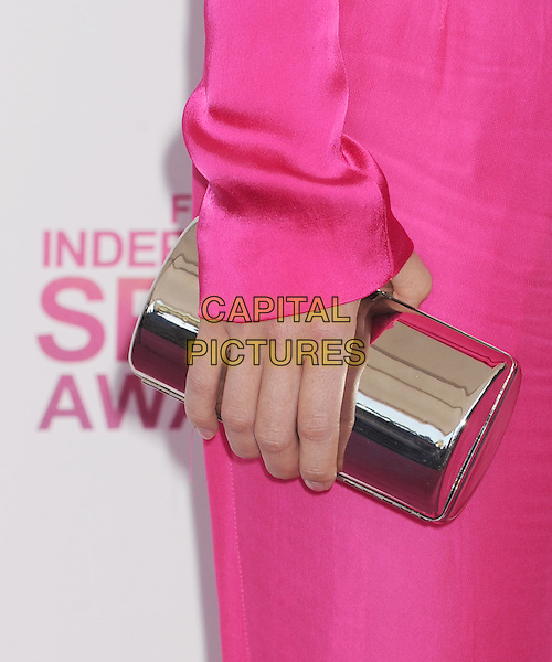 Stana Katic's bag.2013 Film Independent Spirit Awards - Arrivals Held At Santa Monica Beach, Santa Monica, California, USA,.23rd February 2013..indy indie indies indys hand detail clutch silver metallic pink   .CAP/ROT/TM.©Tony Michaels/Roth Stock/Capital Pictures
