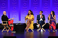 "HOLLYWOOD, CA - MARCH 23:  Ryan Murphy, Janet Mock, Steven Canals and Mj Rodriguez at PaleyFest 2019 for FX's ""Pose"" panel at the Dolby Theatre on March 23, 2019 in Hollywood, California. (Photo by Vince Bucci/FX/PictureGroup)"