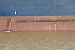 Port of Houston ship channel.graphic side of cargo ship