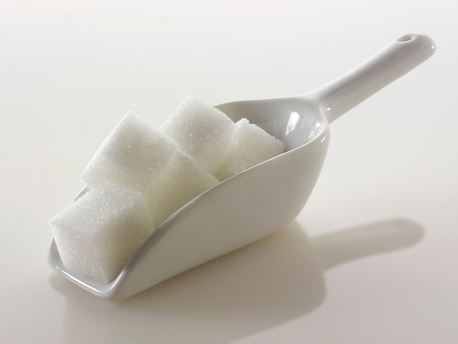 White refined Sugar cubes