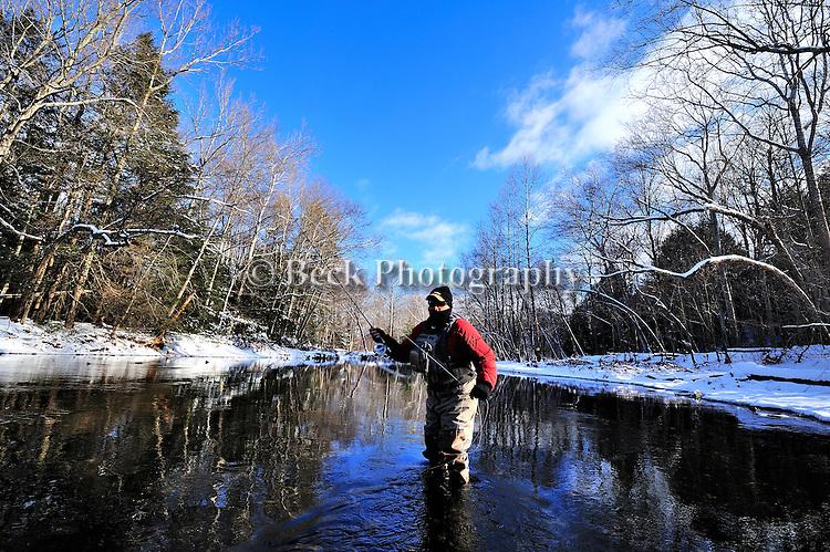 WINTER FLY FISHING, BRAD BERLIN ANGLER, FISHING CREEK IN PA.