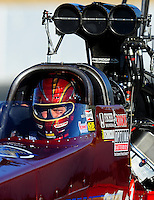 Jul. 16, 2010; Sonoma, CA, USA; NHRA top fuel dragster driver David Grubnic during qualifying for the Fram Autolite Nationals at Infineon Raceway. Mandatory Credit: Mark J. Rebilas-