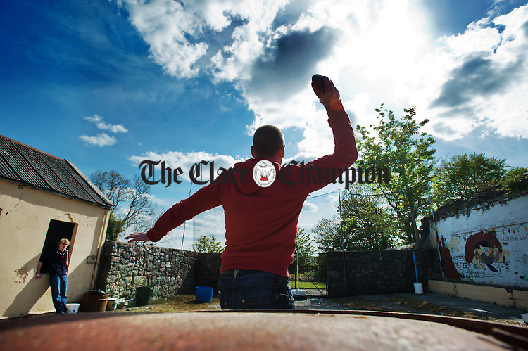 Tim Mc Loughlin of Cork competing at the World Stone Throwing Championships in Corofin. Photograph by John Kelly.