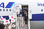 (T-B)  Daichi Suzuki,  Hirokazu Matsuno, Toshiro Muto, Seiko Hashimoto,  Yuriko Koike, <br /> AUGUST 24, 2016 : The Olympic flag welcoming ceremony at Haneda Airport in Tokyo, Japan. The Olympic flag was passed to new Tokyo governor Yuriko Koike from IOC President at the Rio de Janeiro 2016 Olympic Games closing ceremony on August 21. Tokyo will host the 2020 Olympic Games. (Photo by AFLO SPORT)