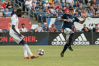 FOXBOROUGH, MA - JULY 27:  Gustavo Bou #7 attempts to block a pass at Gillette Stadium on July 27, 2019 in Foxborough, Massachusetts.