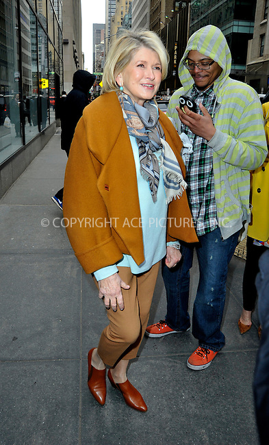 WWW.ACEPIXS.COM<br /> <br /> April 1 2015, New York City<br /> <br /> Martha Stewart made an appearance at 'The Today Show' on April 1 2015 in New York City<br /> <br /> By Line: Curtis Means/ACE Pictures<br /> <br /> <br /> ACE Pictures, Inc.<br /> tel: 646 769 0430<br /> Email: info@acepixs.com<br /> www.acepixs.com