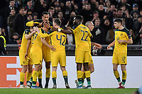 7th November 2019, Rome, Italy; UEFA Europa League football , group stages, Lazio versus Glasgow Celtic;  Celtic players celebrate their goal from James Forrest to equalise at 1-1 in the 38th minute - Editorial Use
