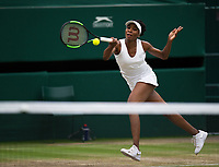 Venus Williams (10) of United States in action during her defeat by Garbine Muguruza (14) of Spain in their Ladies' Singles Final today - Muguruza def Williams 7-5, 6-0<br /> <br /> Photographer Ashley Western/CameraSport<br /> <br /> Wimbledon Lawn Tennis Championships - Day 12 - Saturday 15th July 2017 -  All England Lawn Tennis and Croquet Club - Wimbledon - London - England<br /> <br /> World Copyright &not;&uml;&not;&copy; 2017 CameraSport. All rights reserved. 43 Linden Ave. Countesthorpe. Leicester. England. LE8 5PG - Tel: +44 (0) 116 277 4147 - admin@camerasport.com - www.camerasport.com