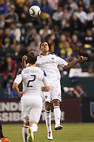 Leonardo (22) of the LA Galaxy with a headball. The LA Galaxy defeated the Philadelphia Union 1-0 at Home Depot Center stadium in Carson, California on  April  2, 2011....